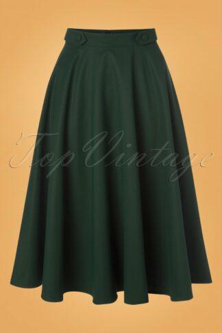50s Di Di Swing Skirt in Forest Green