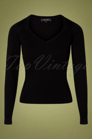 50s Diamond Cotton Club Top in Black