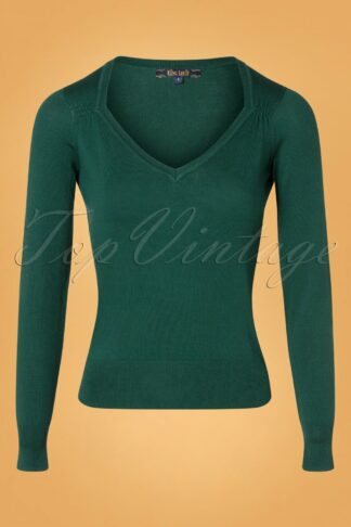 50s Diamond Cotton Club Top in Pine Green