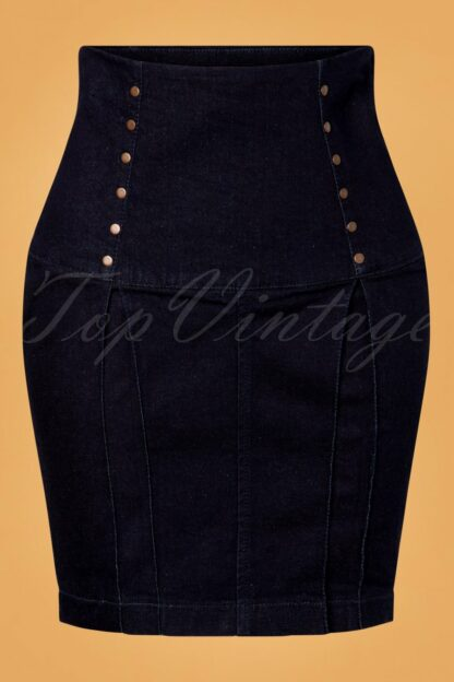 50s Dimitra Denim Pencil Skirt in Dark Blue