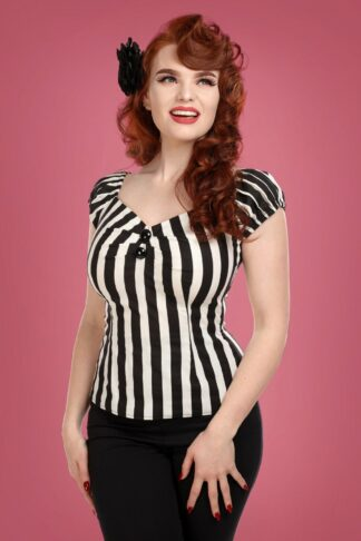 50s Dolores Striped Top in Black and White
