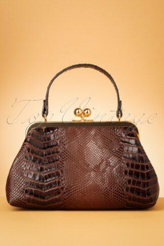 50s Doris Croc Bag in Brown