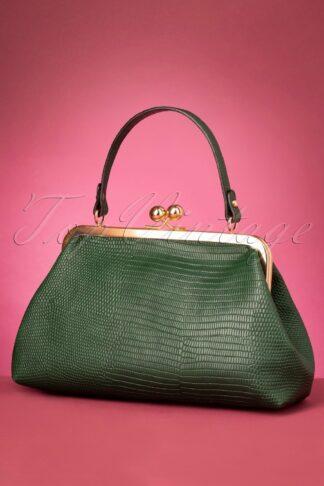 50s Doris Croc Bag in Green