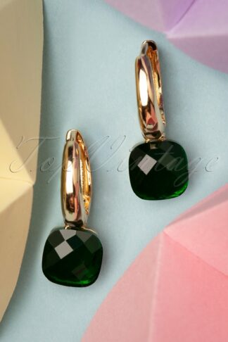 50s Eleanor Earrings in Olive and Gold