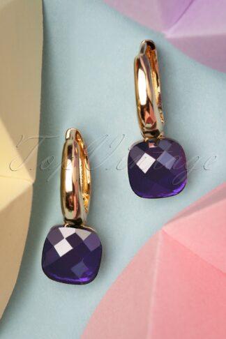 50s Eleanor Earrings in Purple and Gold