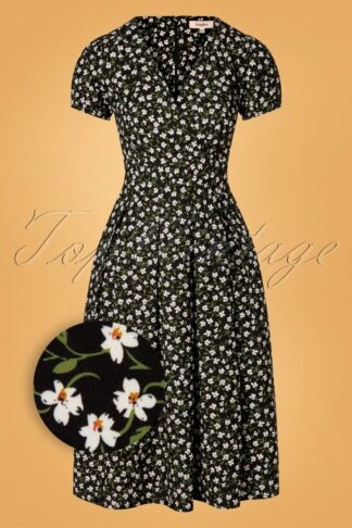 50s Emani Floral Swing Dress in Black