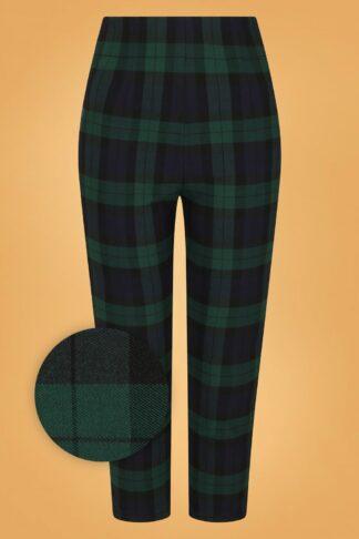50s Evelyn Tartan Cigarette Trousers in Green