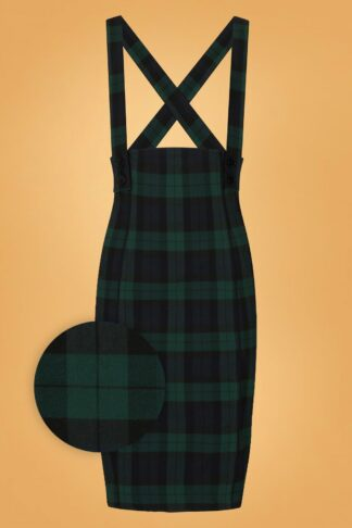 50s Evelyn Tartan Pinafore Pencil Skirt in Green