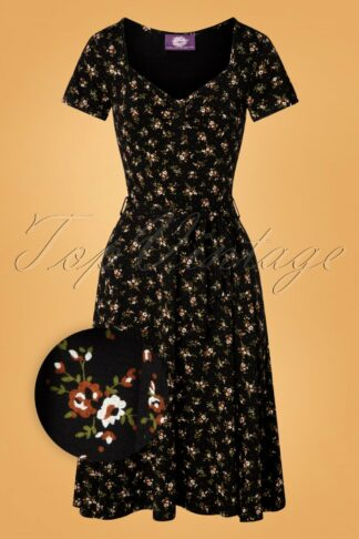 50s Fabienne Floral Swing Dress in Black