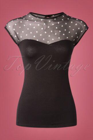 50s Fancy Hearts Top in Black