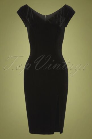 50s Film Noir Pencil Dress in Black