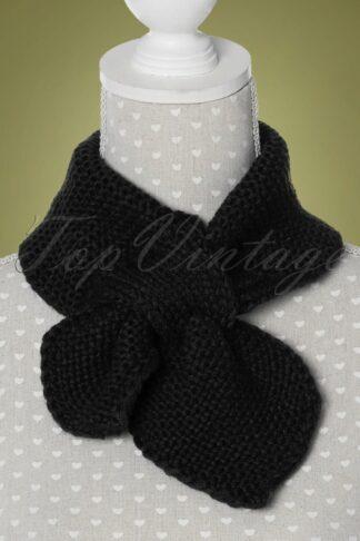 50s Fru Fru Knitted Scarf in Black