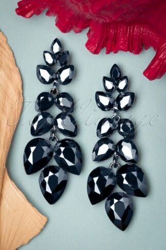50s Georgina Earrings in Anthracite and Blue