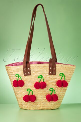50s Gigi Cherry Beach Bag in Natural