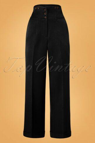 50s Girl Boss Trousers in Black