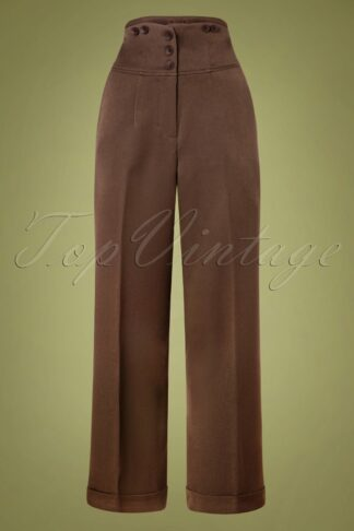 50s Girl Boss Trousers in Brown