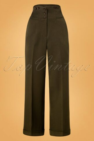 50s Girl Boss Trousers in Dark Green
