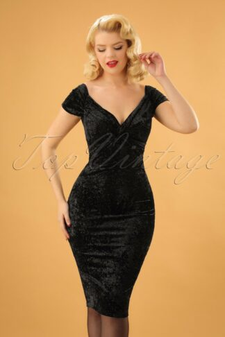 50s Glenda Glitter Velvet Pencil Dress in Black