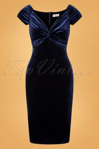 50s Glenda Velvet Pencil Dress in Navy