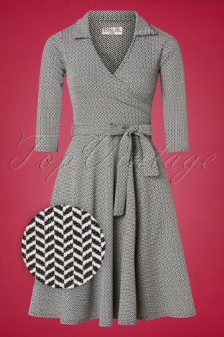 50s Gloria Wrap Dress in Black and White