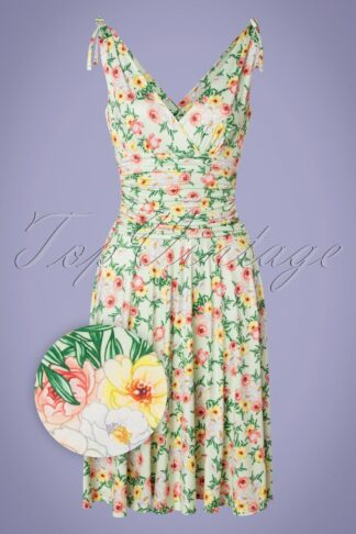 50s Grecian Floral Dress in Mint Green