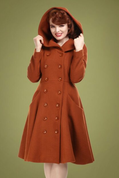 50s Heather Hooded Swing Coat in Burnt Orange