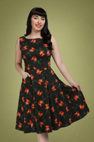 50s Hepburn Midnight Lily Swing Dress in Black