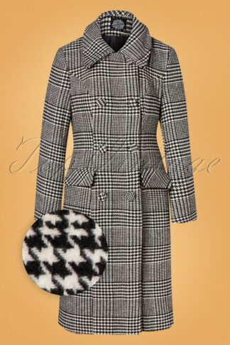50s Isabelle Houndstooth Coat in Black and Ivory
