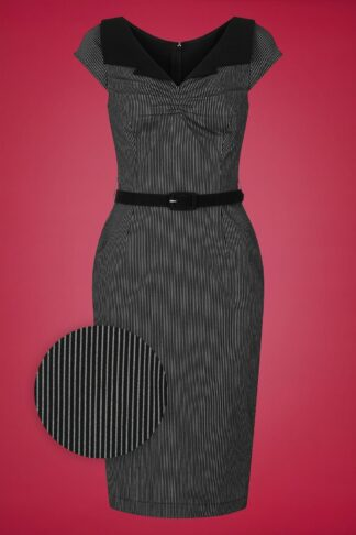 50s Jack Pencil Dress in Black and White