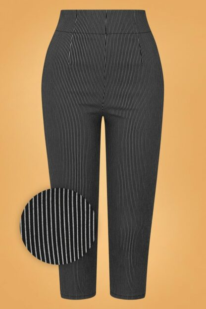 50s Jack Pinstripe Capris in Black and White