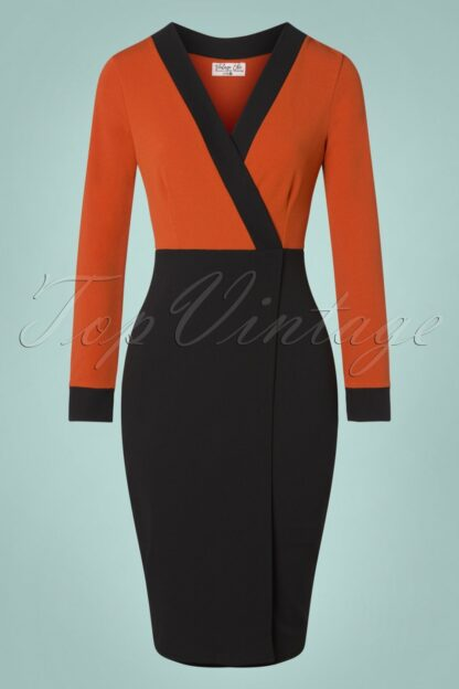 50s Jeannie Pencil Dress in Cinnamon and Black