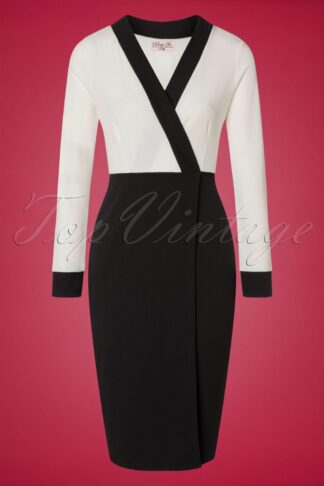 50s Jeannie Pencil Dress in Ivory and Black