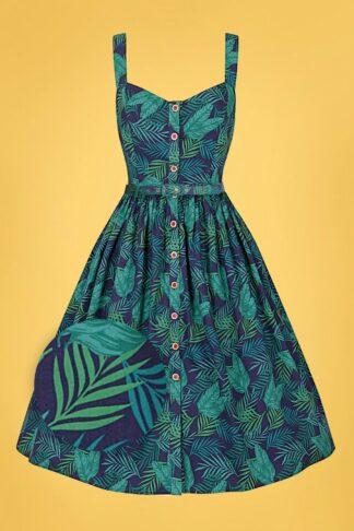 50s Jemima Cool Palm Swing Dress in Navy