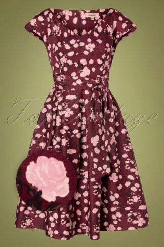 50s Kay Floral Swing Dress in Burgundy