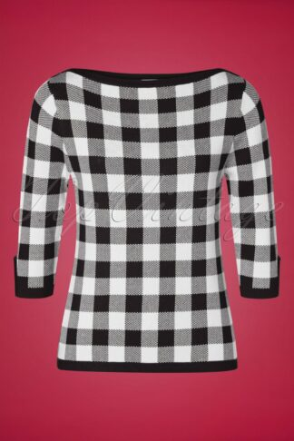 50s Knitted Check Jumper in Black and Ivory