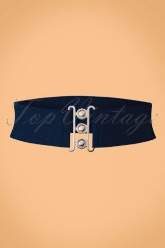 50s Lauren Retro Stretch Belt in Navy