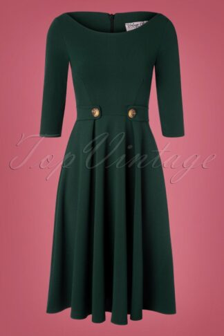 50s Lauren Swing Dress in Forest Green