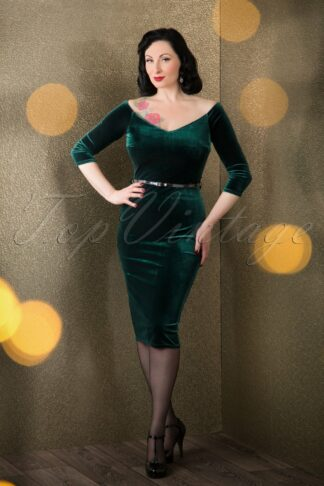 50s Lena Velvet Pencil Dress in Green