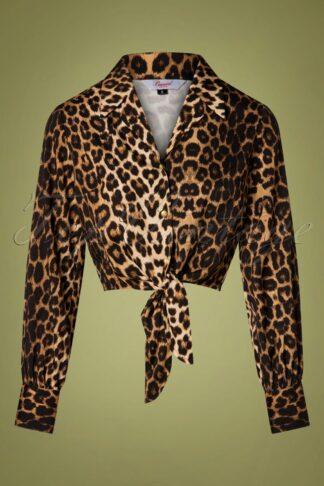 50s Leo-La-La Blouse in Leopard