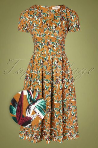 50s Libby Dress in Caramel Brown