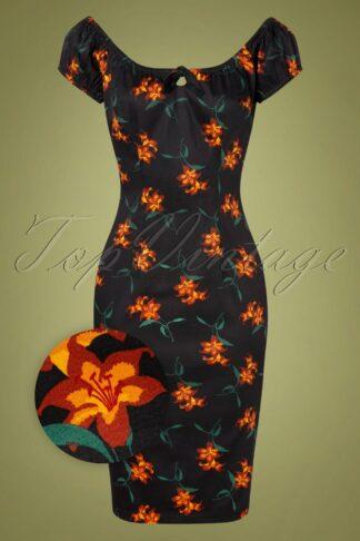 50s Lorena Midnight Lily Pencil Dress in Black
