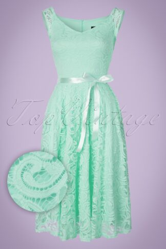 50s Lucia Lace Swing Dress in Mint