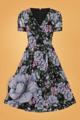 50s Magnolia Swing Dress in Black