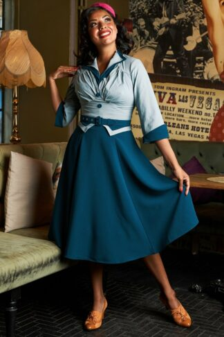 50s Maliah Kat Sophisticated Tailored Swing Dress in Petrol