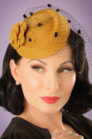 50s Marilyn Fascinator in Mustard