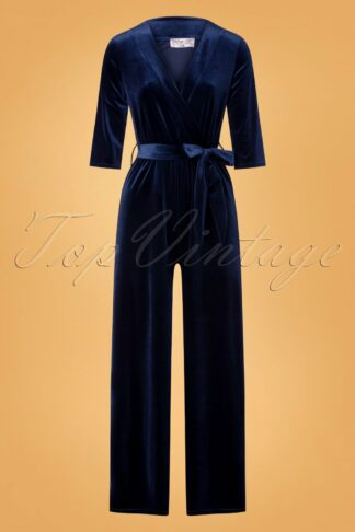 50s Merissa Velvet Jumpsuit in Navy