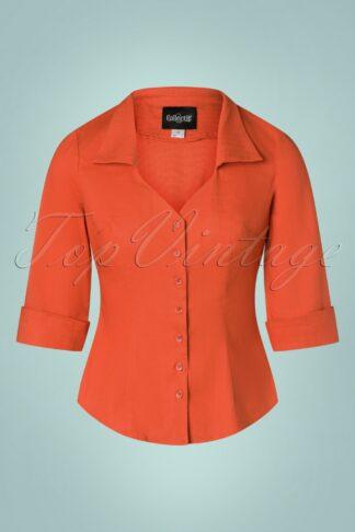 50s Mona 3/4 Sleeve Blouse in Burnt Orange