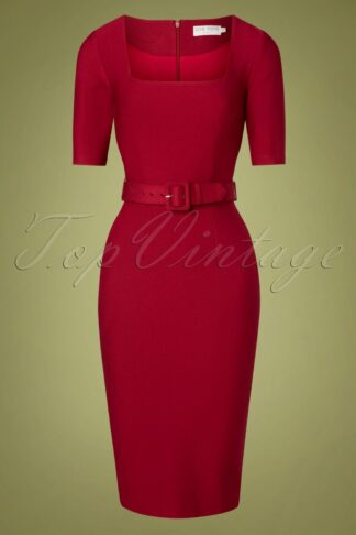 50s Paris Pencil Dress in Red