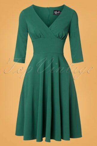 50s Patricia Swing Dress in Dark Green