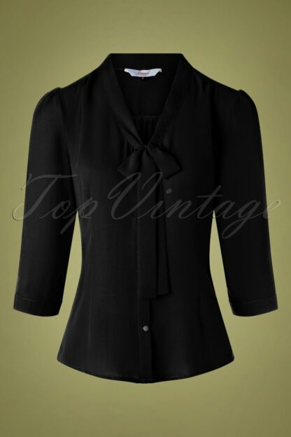 50s Perfect Bow Blouse in Black